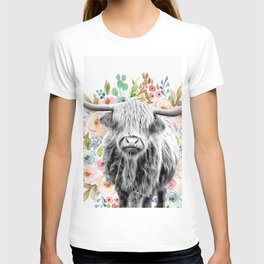 Cutest Highland Cow With Flowers T-shirt