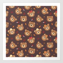 Brown Bear Heads Repeating Pattern Art Print