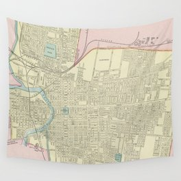 Vintage Map of Columbus Ohio (1901) Wall Tapestry