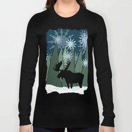 Moose in the Snowy Forest Long Sleeve T-shirt
