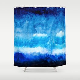 Modern abstract hand  painted blue turquoise ombre watercolor Shower Curtain