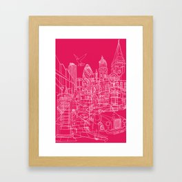 London! Hot Pink Framed Art Print