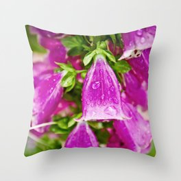 Bell Flowers With Raindrops Throw Pillow