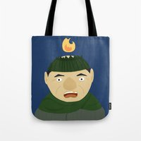 home alone Tote Bags featuring Harry from Home Alone by Tris Tolliday