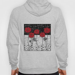 Retro. Red poppies on white background sulfur. Applique. Hoody