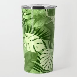 Green Tropical Leaves Pattern Travel Mug