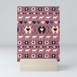 Romantic decor with deer in purple Mini Art Print