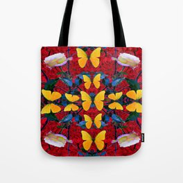 RED-WHITE ROSES & YELLOW BUTTERFLIES GARDEN Tote Bag