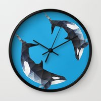 killer whale Wall Clocks featuring Killer Whale. by Diana D'Achille
