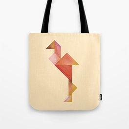 Tangram Flamingo Yellow Tote Bag