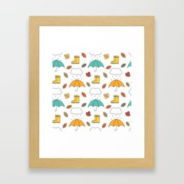 cute lovely autumn pattern with umbrellas, rain, clouds, leaves and boots Framed Art Print