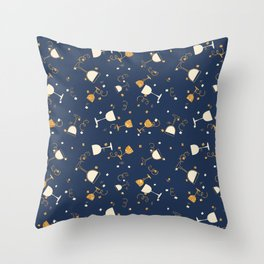 Chic navy blue faux gold glitter party time Throw Pillow
