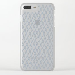 Fishing Net Grey on Blue Clear iPhone Case