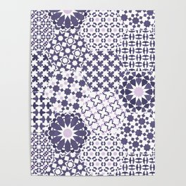 Spanish Tiles of the Alhambra - Violets Poster