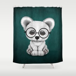 Cute Polar Bear Cub with Eye Glasses on Teal Blue Shower Curtain