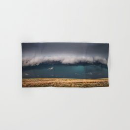 Small - Large Storm Towering Over Windmill in Texas Hand & Bath Towel
