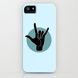 ILY - I Love You - Sign Language - Black on Green Blue 03 iPhone Case