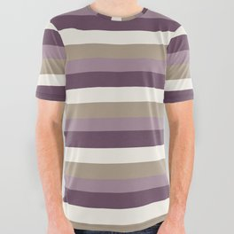 Stripes in Magenta, Lavender and Cream All Over Graphic Tee