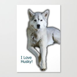 I love Husky Canvas Print