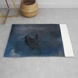 Two little crows blue sky dark night Rug