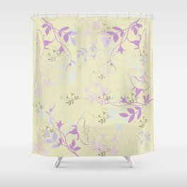 Flowers on Vine - Yellow Shower Curtain