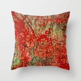 Abstract Red Rust on Green Paint Throw Pillow