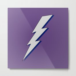 Just Me and My Shadow Lightning Bolt - Purple Background Metal Print