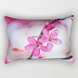 Pink flowers on the decorative apple bush over blurred background. Shallow depth of field. Rectangular Pillow