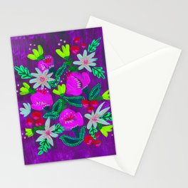 Purple Magenta Blooms Stationery Cards