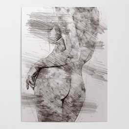 Nude woman pencil drawing Poster