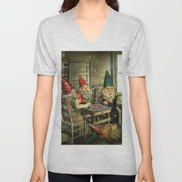 Garden Gnomes Playing Checkers Unisex V-Neck