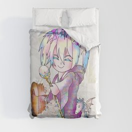 Cute sorcerer with a pink candy treasure chest Comforters