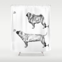 motivation Shower Curtains featuring Pug Motivation by Brendon Smile