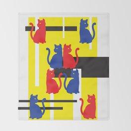Cat in De Stijl Throw Blanket