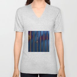 Electric Blue Abstract with Gold Stripes Unisex V-Neck