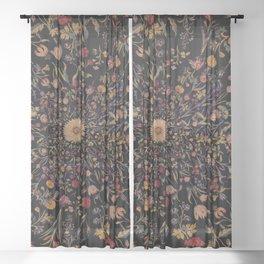 Medieval Flowers on Black Sheer Curtain