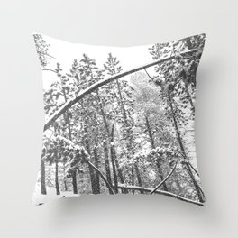 Forest Snowfall // Winter Tree Black and White Landscape Photography Backwoods Woodlands Woods Throw Pillow