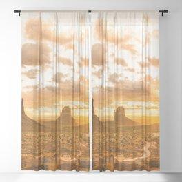 Southwest Wanderlust - Monument Valley Sunrise Nature Photography Sheer Curtain