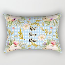 Not Your Babe - Floral Print on Polka Dots Rectangular Pillow