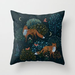Forest Foxes Throw Pillow