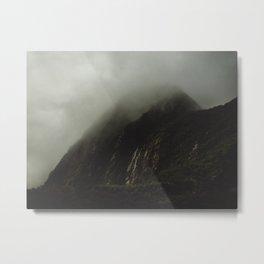 Foggy Rockface Metal Print