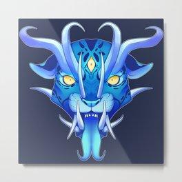 Japanese Oni Mask Metal Print