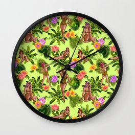 Jungle Vixens in Lime Wall Clock