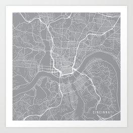 Cincinnati Map, Ohio USA - Pewter Art Print