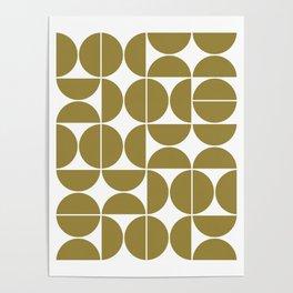 Mid Century Modern Geometric 04 Flat Gold Poster