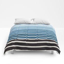 Watercolor Gouache Mid Century Modern Minimalist Colorful Green Blue Stripes Comforters