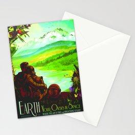 NASA Space Earth Retro Poster Futuristic Explorer Poster Stationery Cards