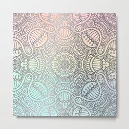 Silver Mandala Pattern on Pastel Gradient Metal Print