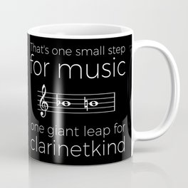 Crossing the break (clarinet) - white text for dark t-shirts Coffee Mug