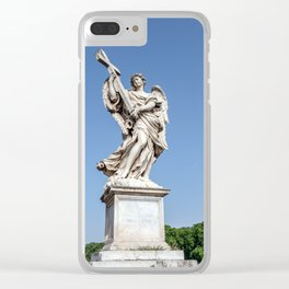 Angel with the Cross at the Sant'Angelo bridge - Rome, Italy Clear iPhone Case